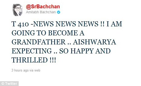 Actor Amitabh Bachchan, father-in-law of Aishwarya Rai, announced the pregnancy news today  on twitter.