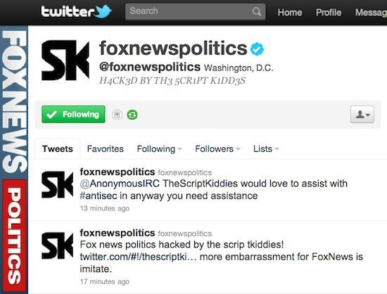 screenshot capturing of Fox News Twitter accoutn hacked