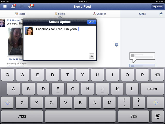 facebook -ipad-status-update