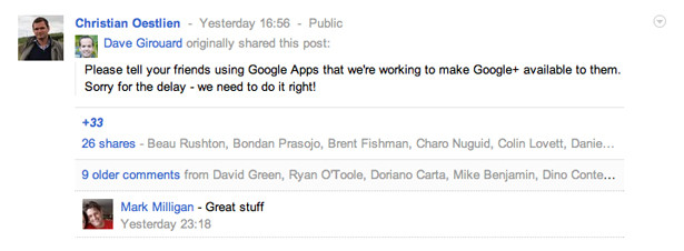 Google confirms Google Apps users will gain Google+ access