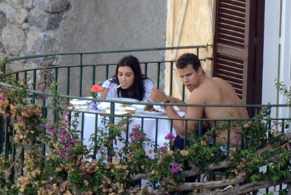 The newlyweds enjoy a romantic meal for two while relaxing at their luxury resort on the Amalfi Coast