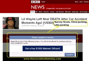 Lil Wayne Nearly Dies In FATAL Car Crash Facebook Scam BBC Link Page