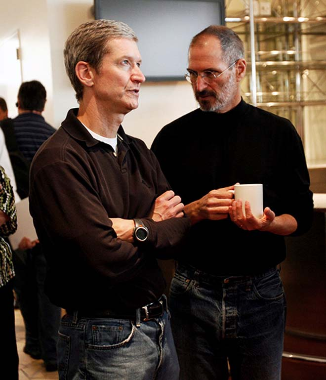 New Apple SEO Tim Cook and Steve Jobs