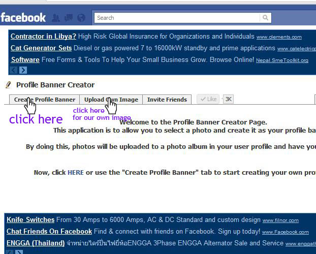 how to use the facebook profile banner craeator