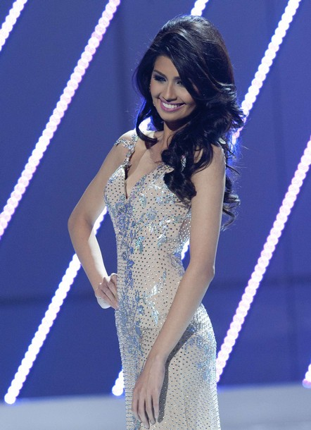 Miss Universe Philippines 2011 Shamcey Supsup participates in the evening gown segment of the Miss Universe 2011 pageant in Sao Paulo