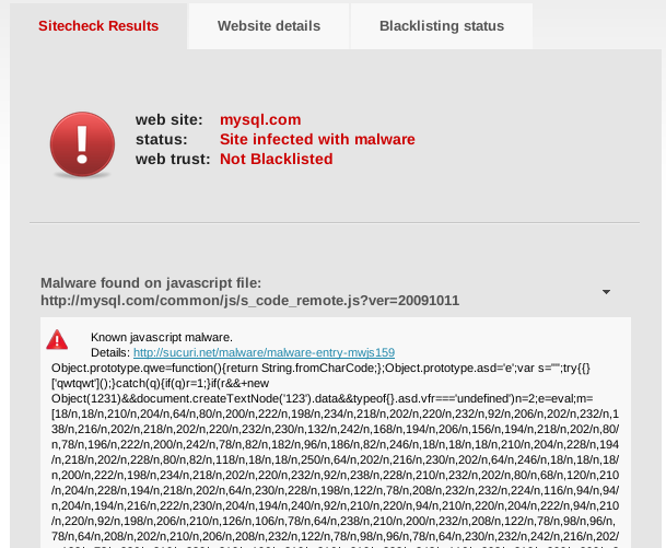 MySQL site hacked Serves up malware in a white wine sauce