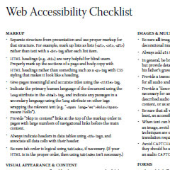 Web Accessibility Checklist by Aaron Cannon