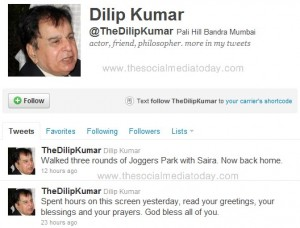 Actor dilip kumar twitter page