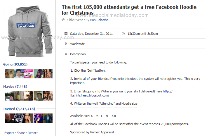 The first 185,000 attendants get a free Facebook Hoodie for Christmas