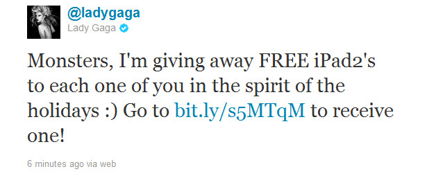 Lady gaga twitter page hacked