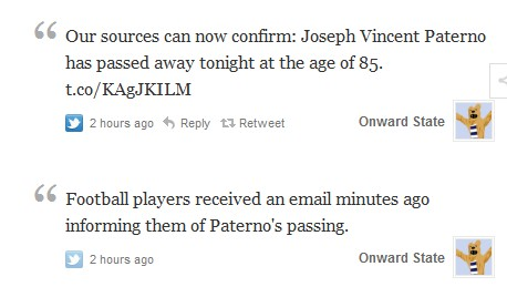 Penn State student news tweets death of Joe Paterno