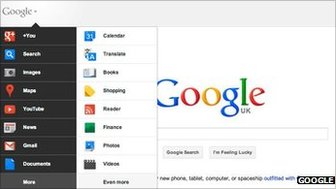 Google&#039;s new home page screen shot