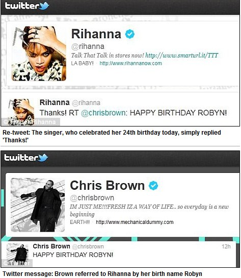 Rihanna retweeted to Chris Brown thanks twitter pic