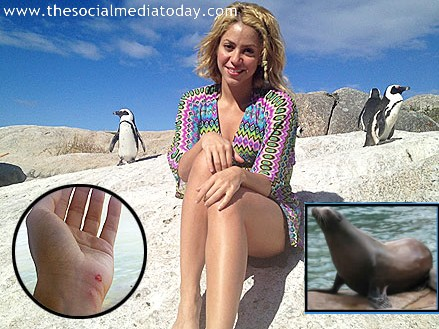Shakira Nearly Attacked by a Sea Lion Photo
