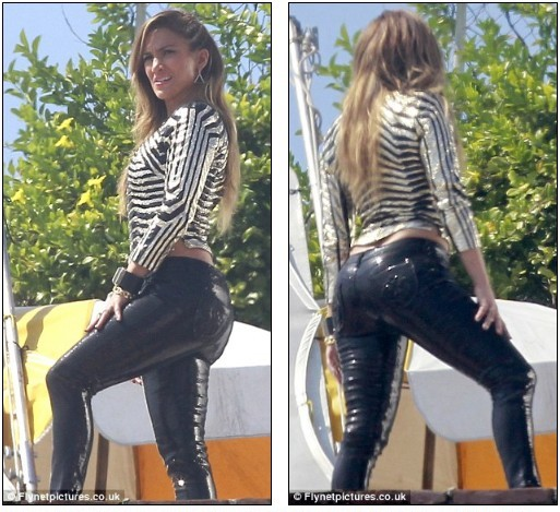 J Lo in sexy shiny trousers