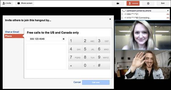 free phone calls from Google+ Hangouts