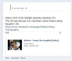 OMG!!! Pop star singer Shakira making s*x: Facebook Scam