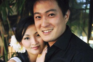 Theatre actress Emma Yong with her husband, interior designer Jerry Lim, in a photo taken on their wedding day.