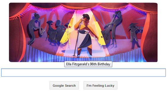 Google honours Ella Fitzgerald on her 96th birthday with a doodle.