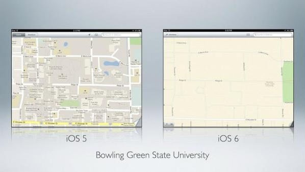 Apple iOS 5 Maps vs. iOS 6 Maps images
