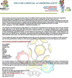 Fake EURO 2012 Lottery Scams letter