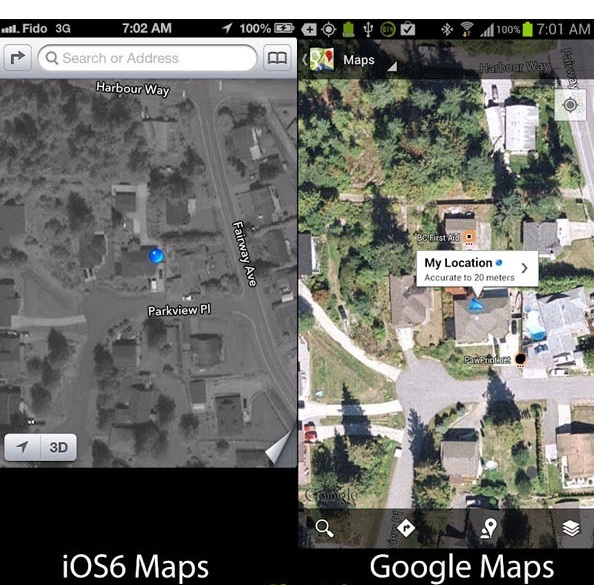 Google Maps vs iOS6 Maps