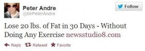 Peter Andre's silly weight loss tweets.