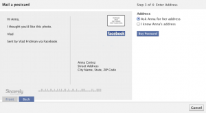how to send facebook postcard photo message