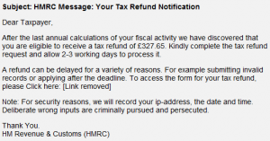 HM Revenue & Customs Income Tax Repayment Phishing Scam.
