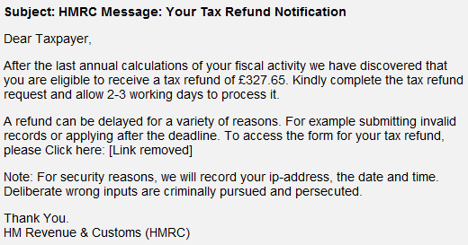 Tax Refund Notification fake email.