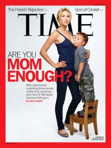 Time cover shows mom breast-feeding young son