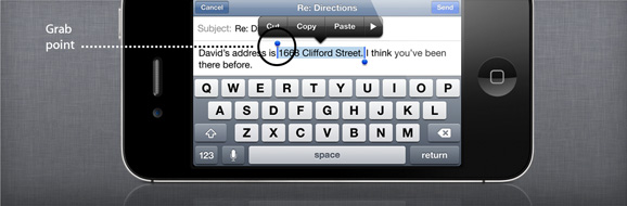 cut copy paste shortcuts in iPhone