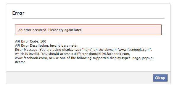fixe facebook login error