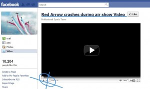 Red Arrow crashes during air show video facebook scam screen shot