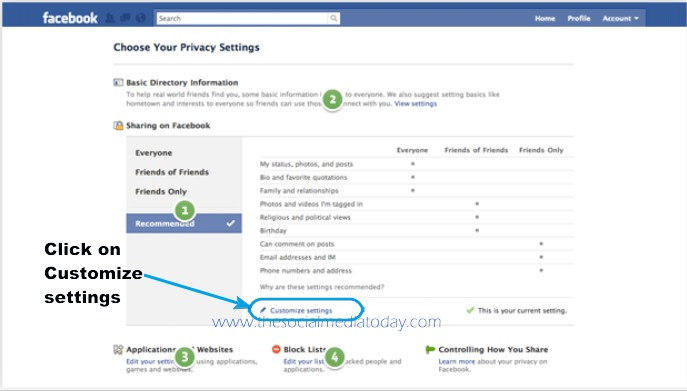 privacy setting on facebook
