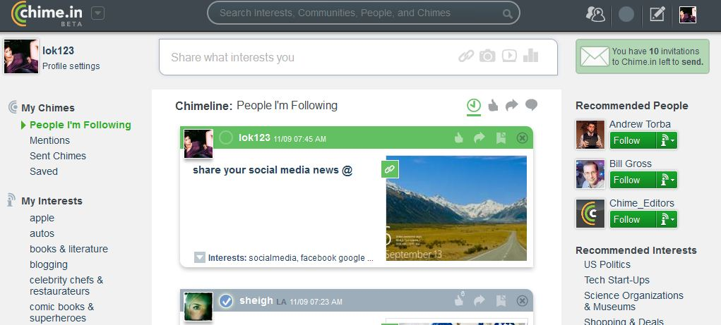 chime in social network