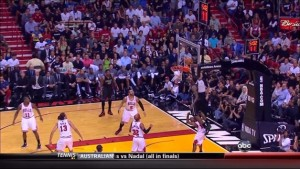 LeBron James jumps over John Lucas for alley-oop: Chicago Bulls at Miami Heat