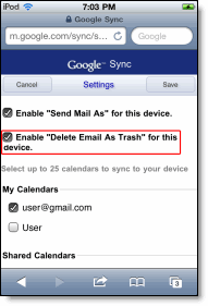 delete-email-checked on iPad,iPhones and iPod touches
