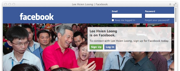 Singapore Minister Facebook and Twitter page