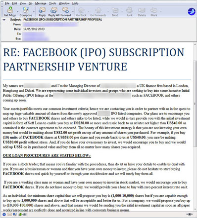 Facebook IPO Scam Message sample
