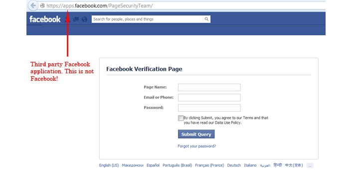 Fake Facebook Security Team Message