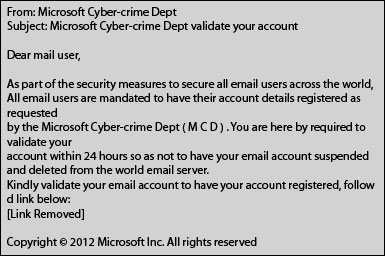 Microsoft Cyber-Crime Department Phishing Scam Email